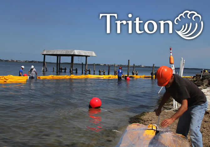 Triton turbidity curtain installation